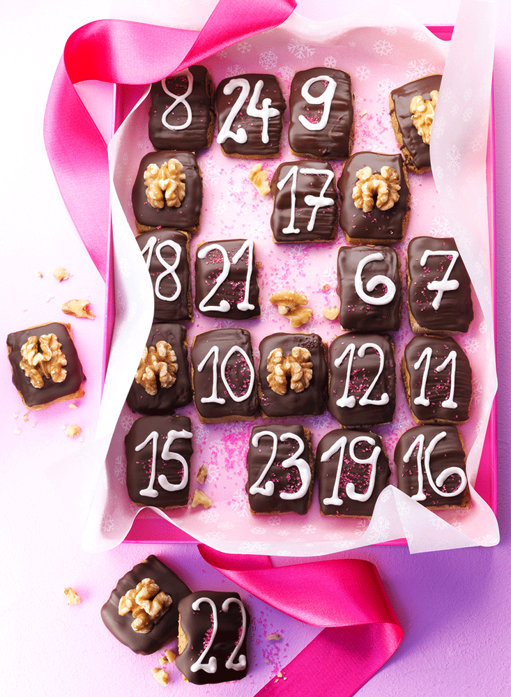 Adventskalender aus Lebkuchen-Plaetzchen